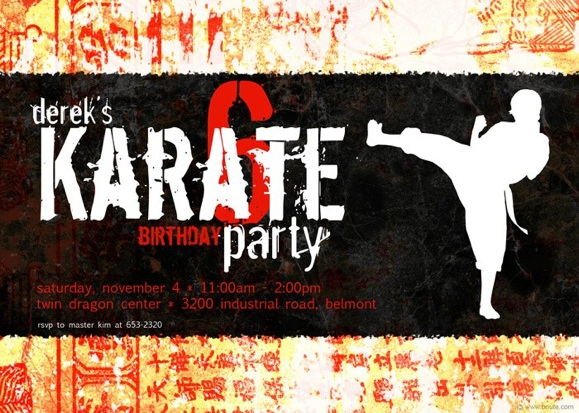 Karate Party Invitations Decorations Art Activites Games and More – Martial Arts Birthday Invitations