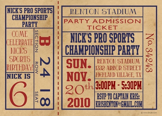 Pro Sports Ticket Party: Invitations, Decorations, Art Activites, Games,  And More  Party Ticket Invitations