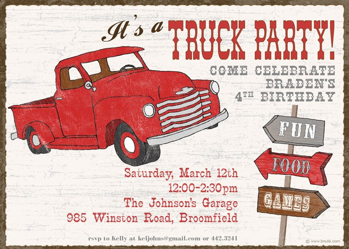 Truck Party Invitations Decorations Art Activites Games And More
