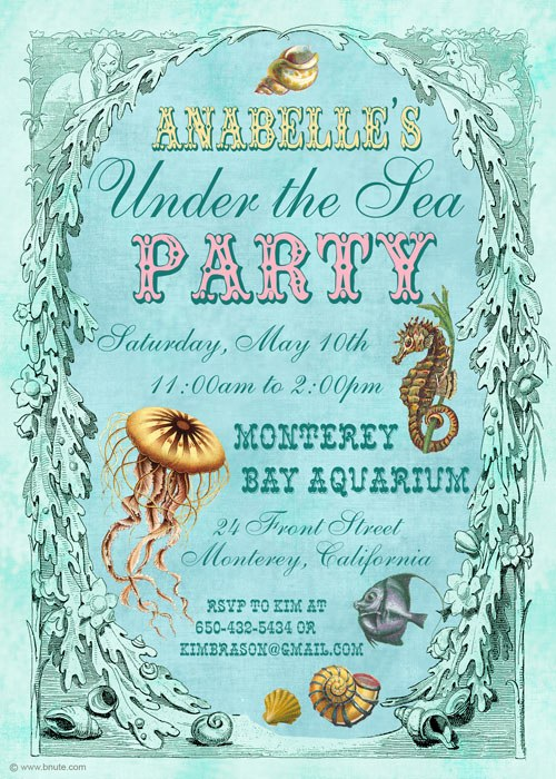 under the sea party invitations decorations art activites games and more - Under The Sea Party Invitations