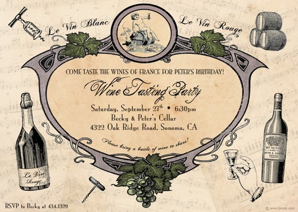 Wine or Champagne Tasting Party Invitations Decorations Art