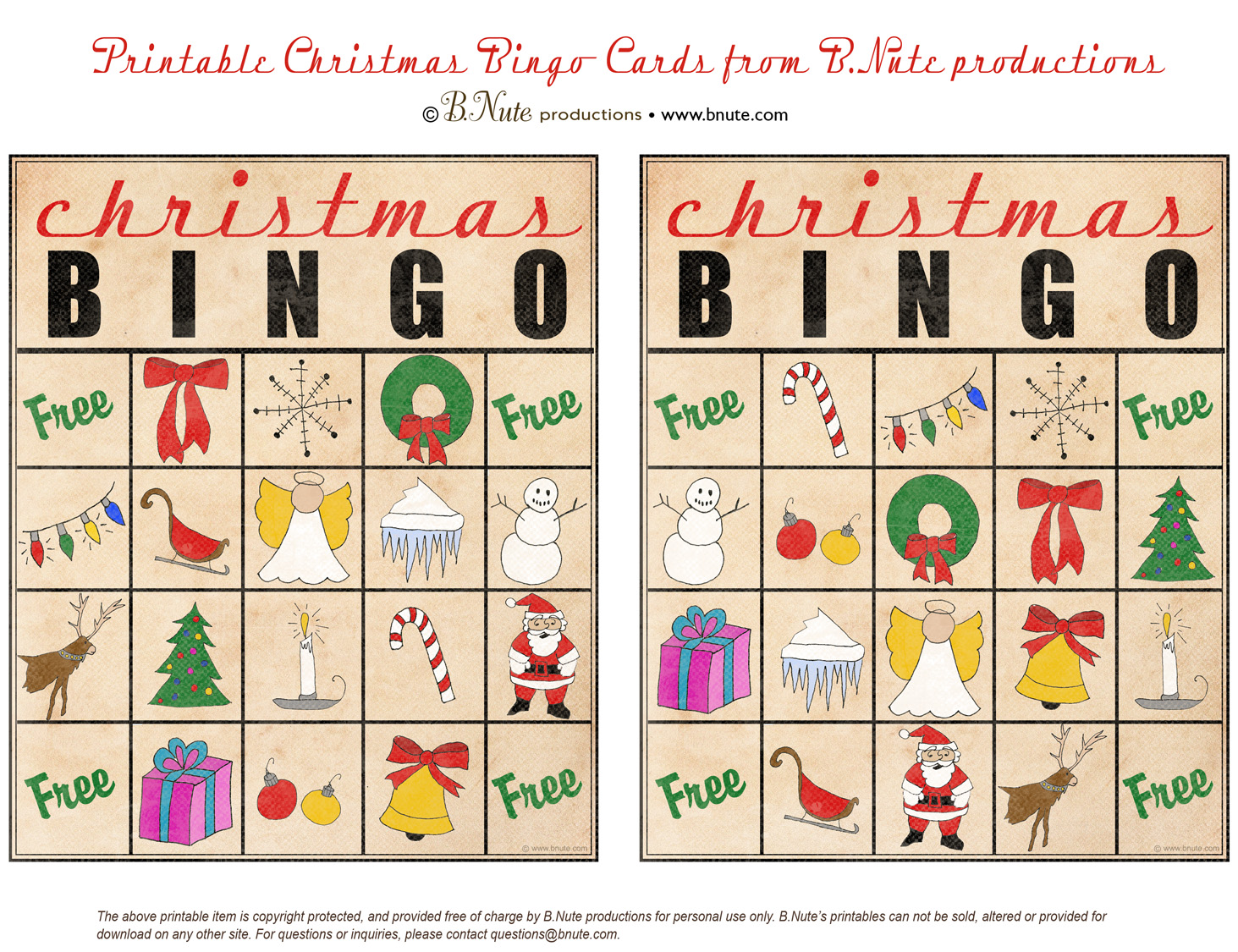 Free Printable Christmas Bingo Cards from B.Nute productions