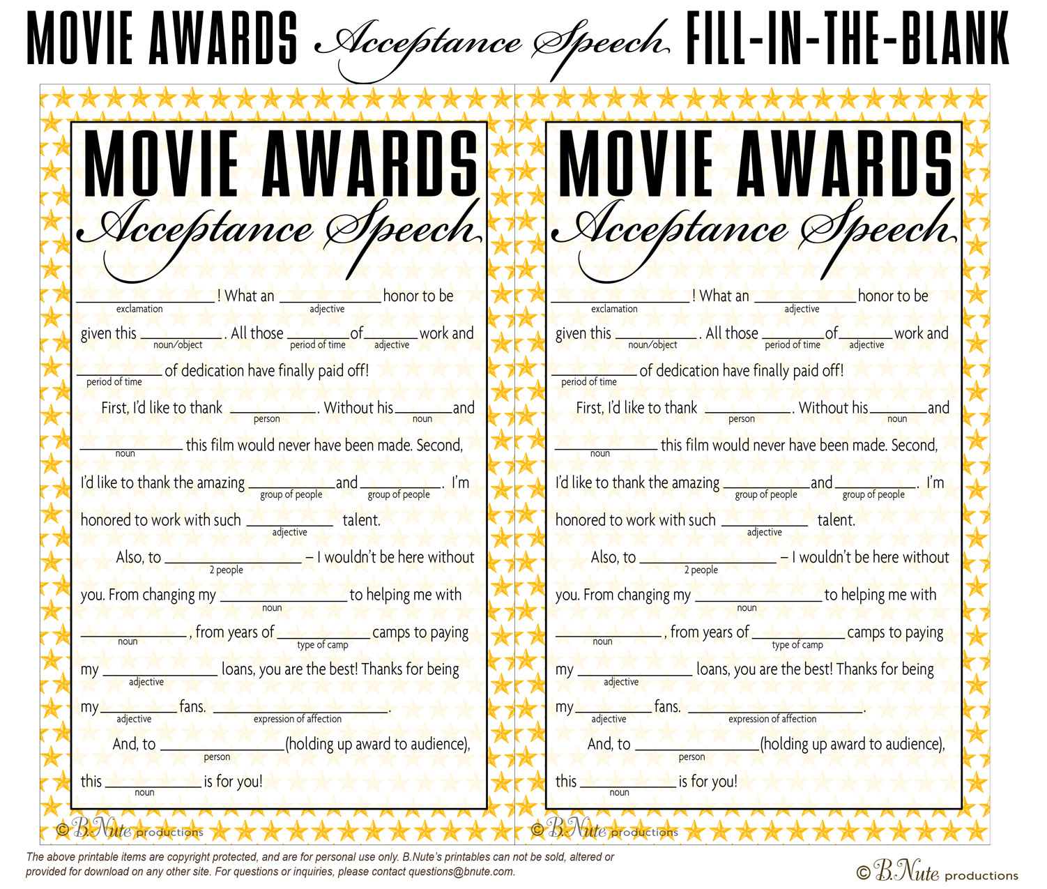 Bnute productions free printable oscar party game acceptance free printable movie awards acceptance speech game by bte productions spiritdancerdesigns Gallery