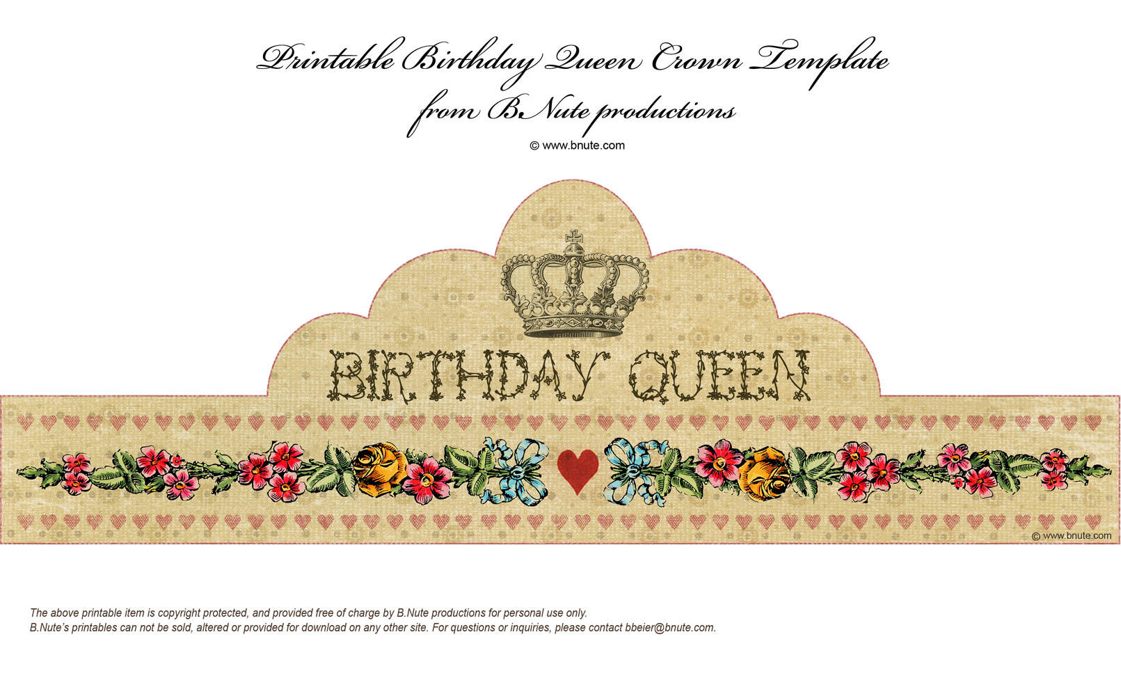 photograph regarding Birthday Crown Printable called bnute productions: Absolutely free Printable Birthday Queen Crown
