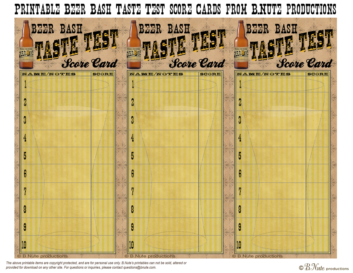 photo relating to Wine Tasting Sheets Printable known as bnute productions: Totally free Printable Beer Tasting Ranking Card