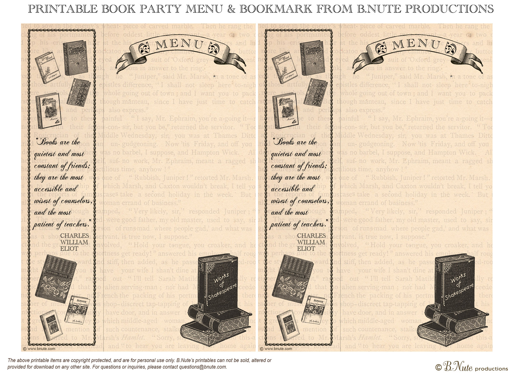Bnute Productions Free Printable Book Party Menu And Bookmark