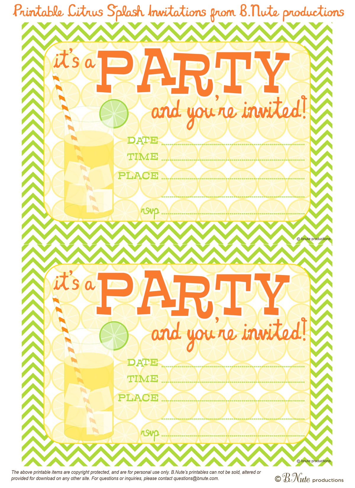 picture relating to Printable Party Invite named bnute productions: Totally free Printable Citrus Splash Invites