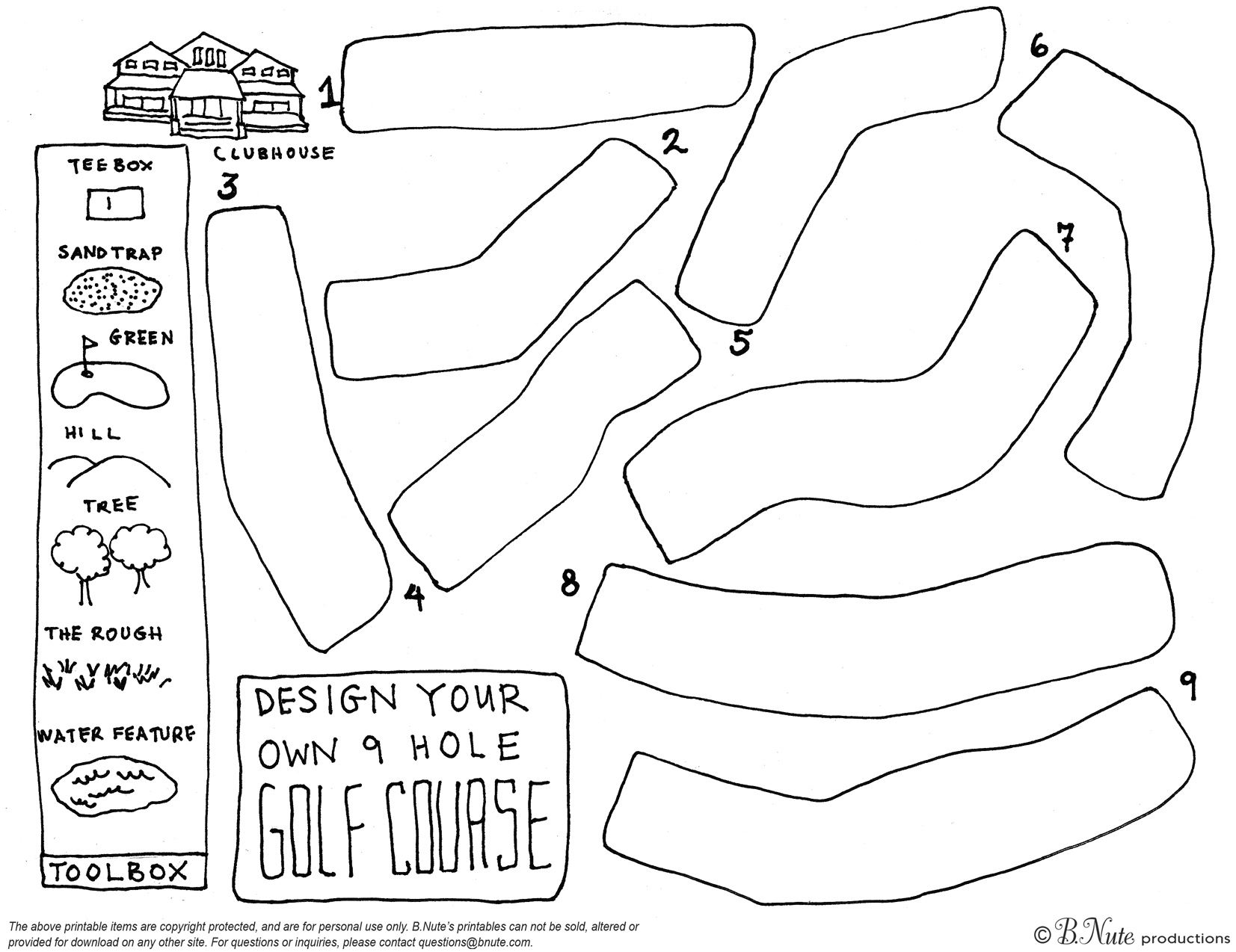 bnute productions free printable design your own 9 hole golf course