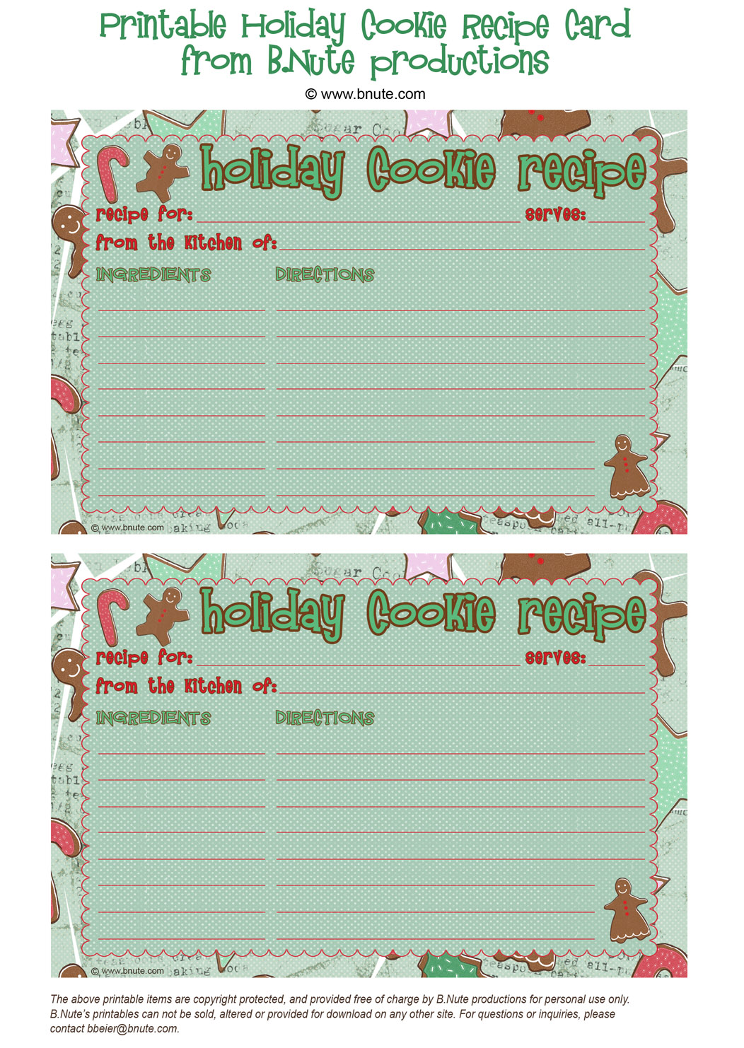 Free Printable Holiday Cookie Recipe Card By BNute Productions