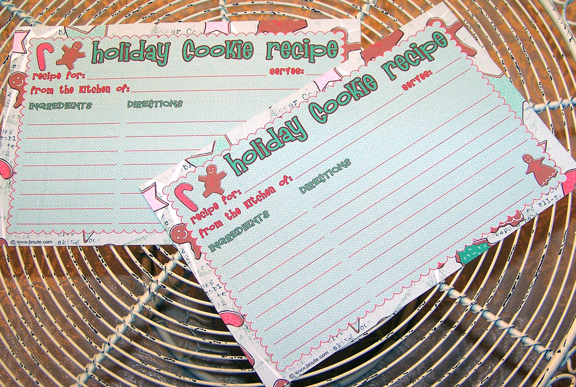 Recipe Card Template Christmas Cookie