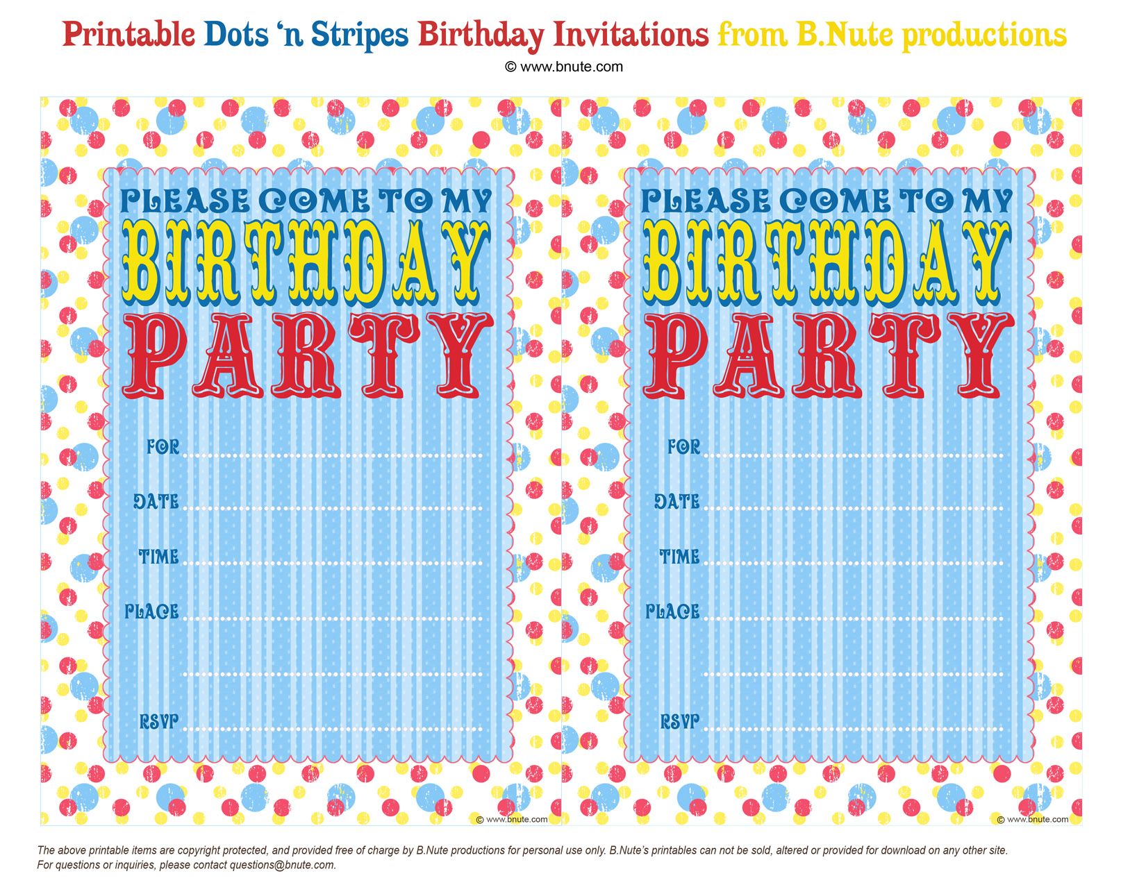 Free Printable Dots N Stripes Birthday Party Invitations By BNute Productions