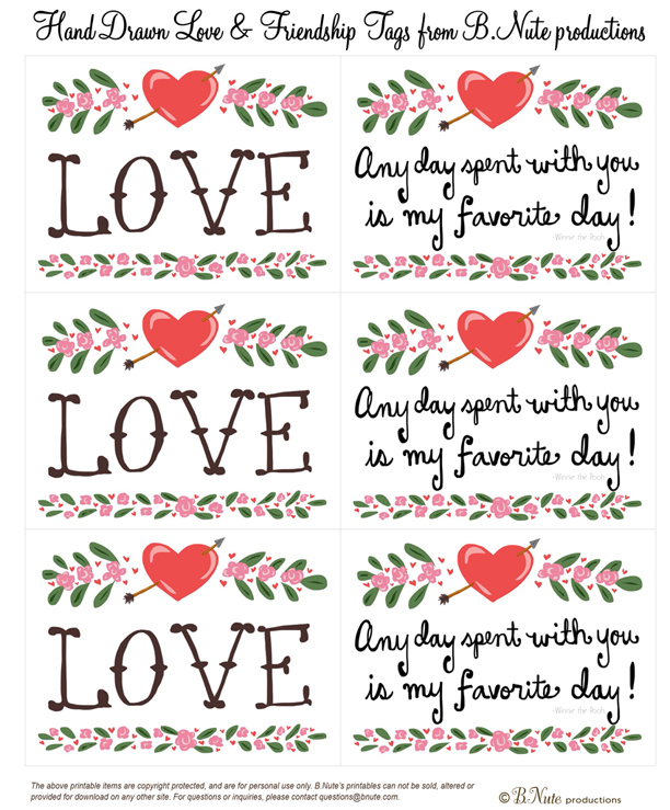 bnute productions: Free Printable Hand Drawn Love & Friendship Tags
