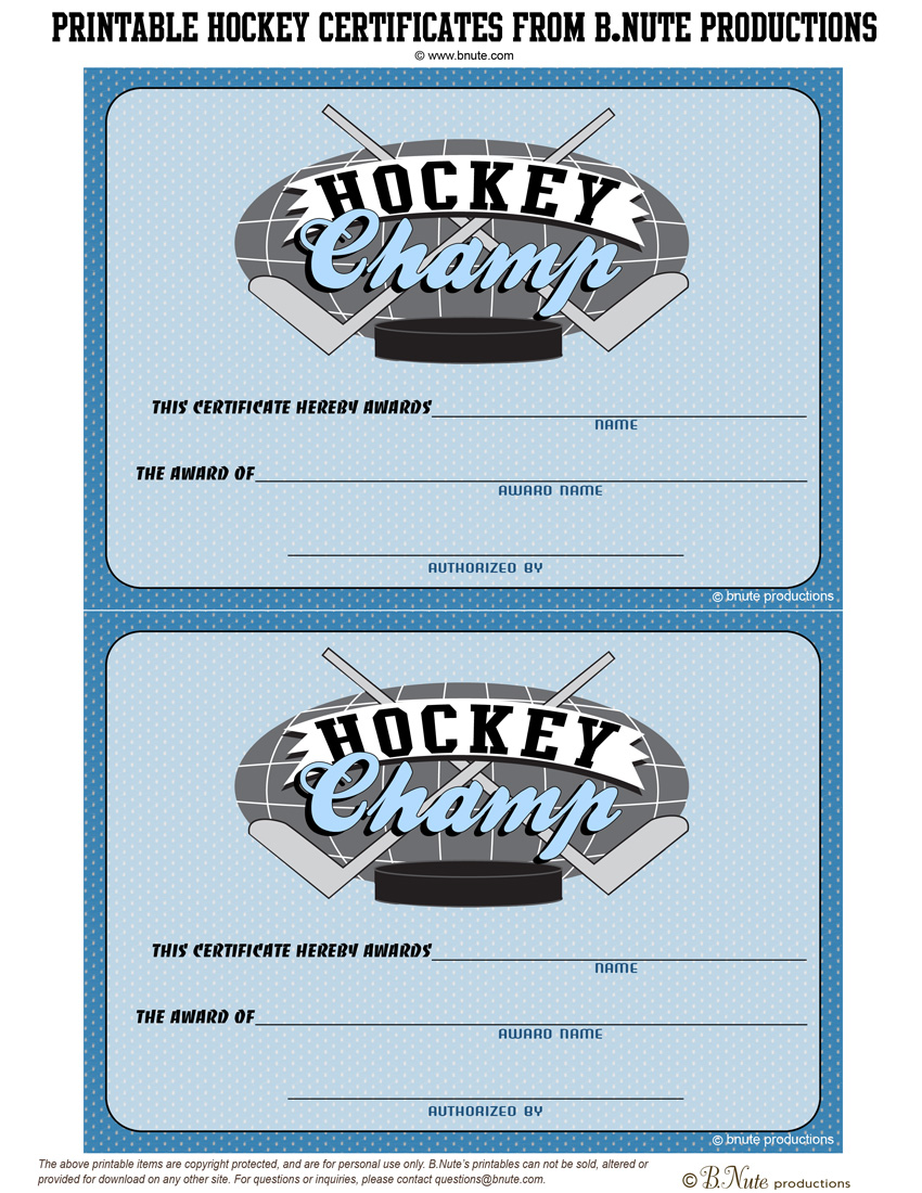 bnute productions: Free Printable Hockey Party Tags and Certificates