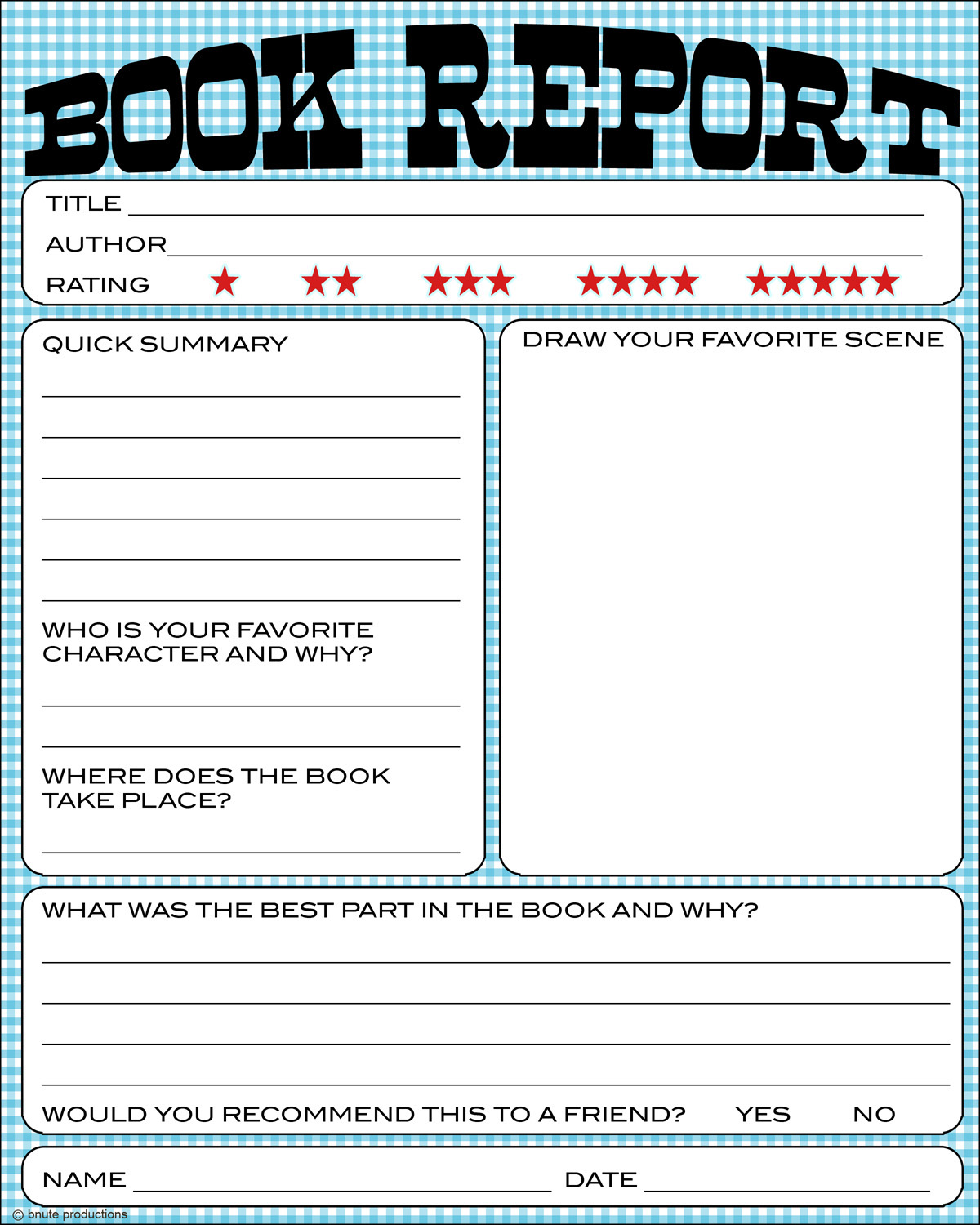 Free Printable Kids Book Report Worksheet from B.Nute productions