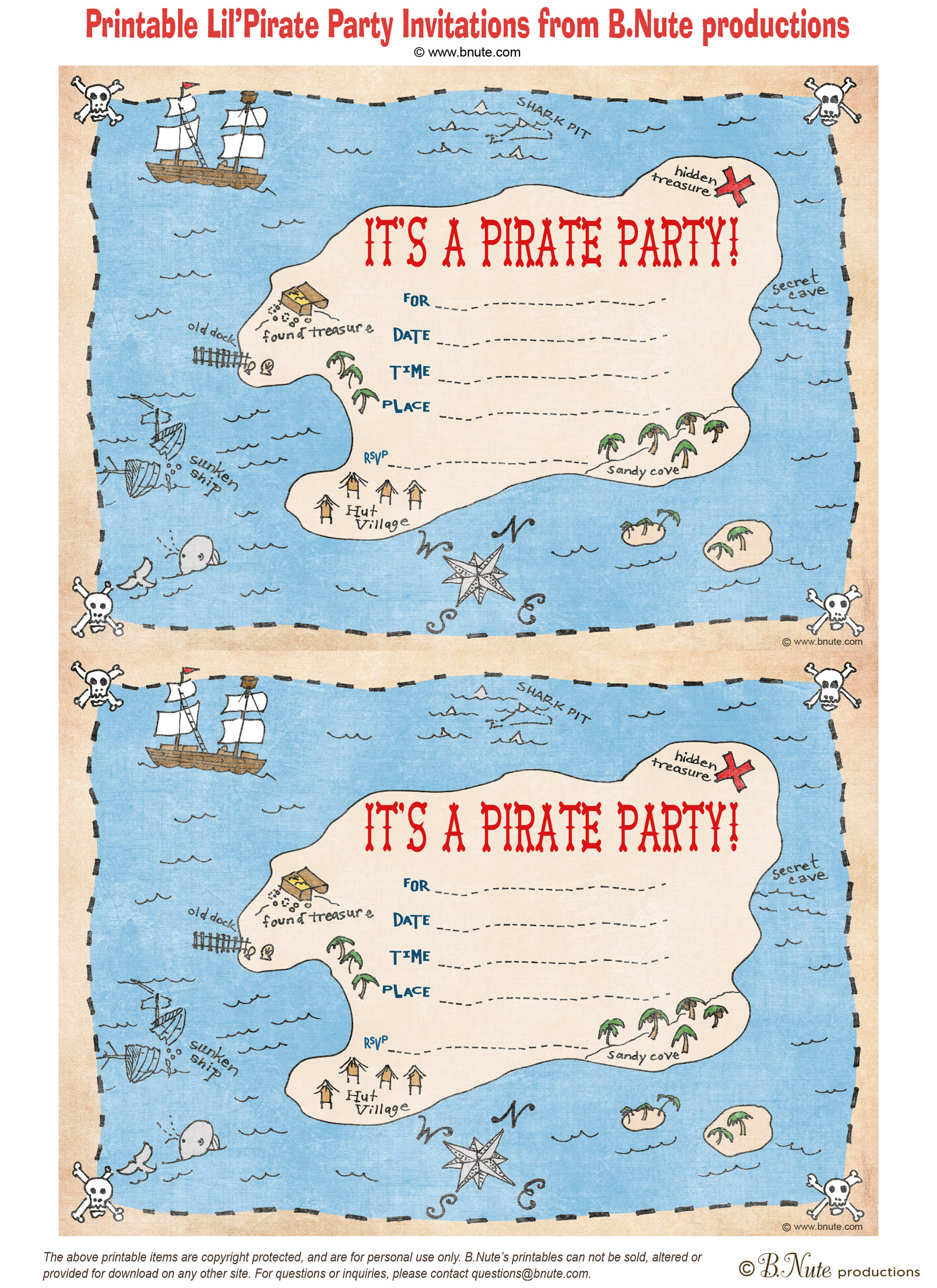bnute productions Free Printable Pirate Party Invitations – Pirate Party Invites