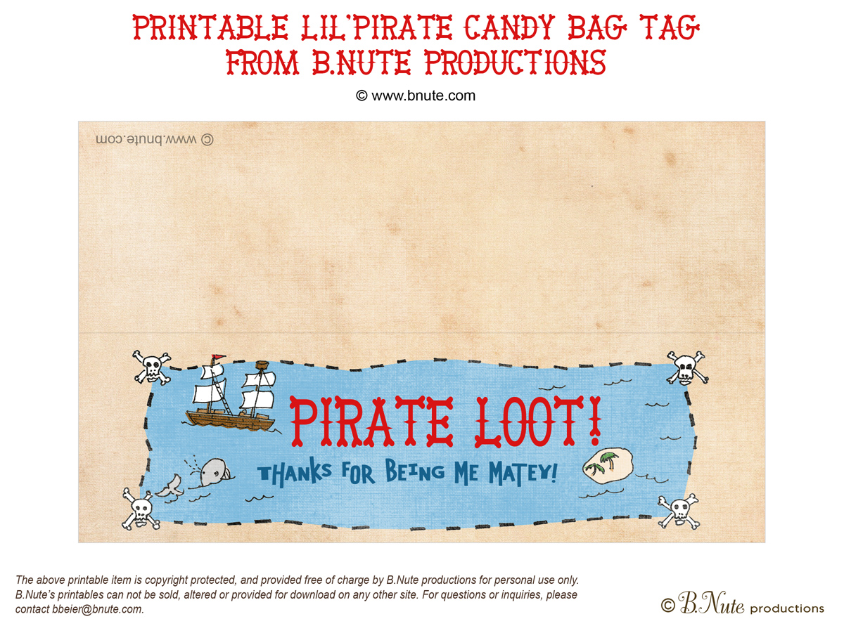 bnute productions Free Printable LilPirate Loot Bag Label – Free Pirate Party Invitations