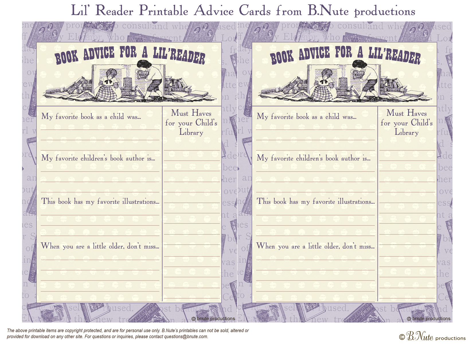 picture about Free Printable Bridal Shower Advice Cards known as bnute productions: Free of charge Printable LilReader Reserve Suggestions Card