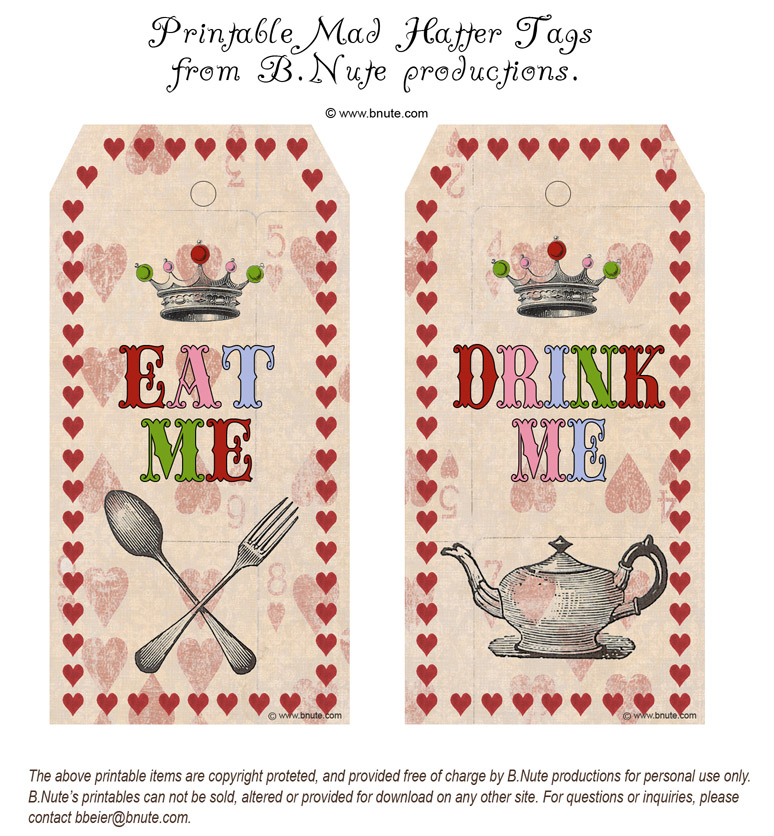 Bnute productions printable mad hatter eat me drink me tags for Alice in wonderland tags template