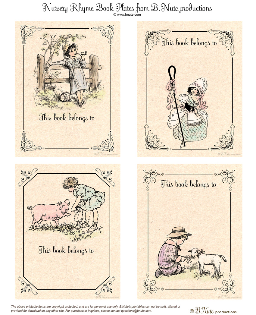image regarding Printable Nursery Rhymes identified as bnute productions: Free of charge Printable Nursery Rhyme Guide Plates