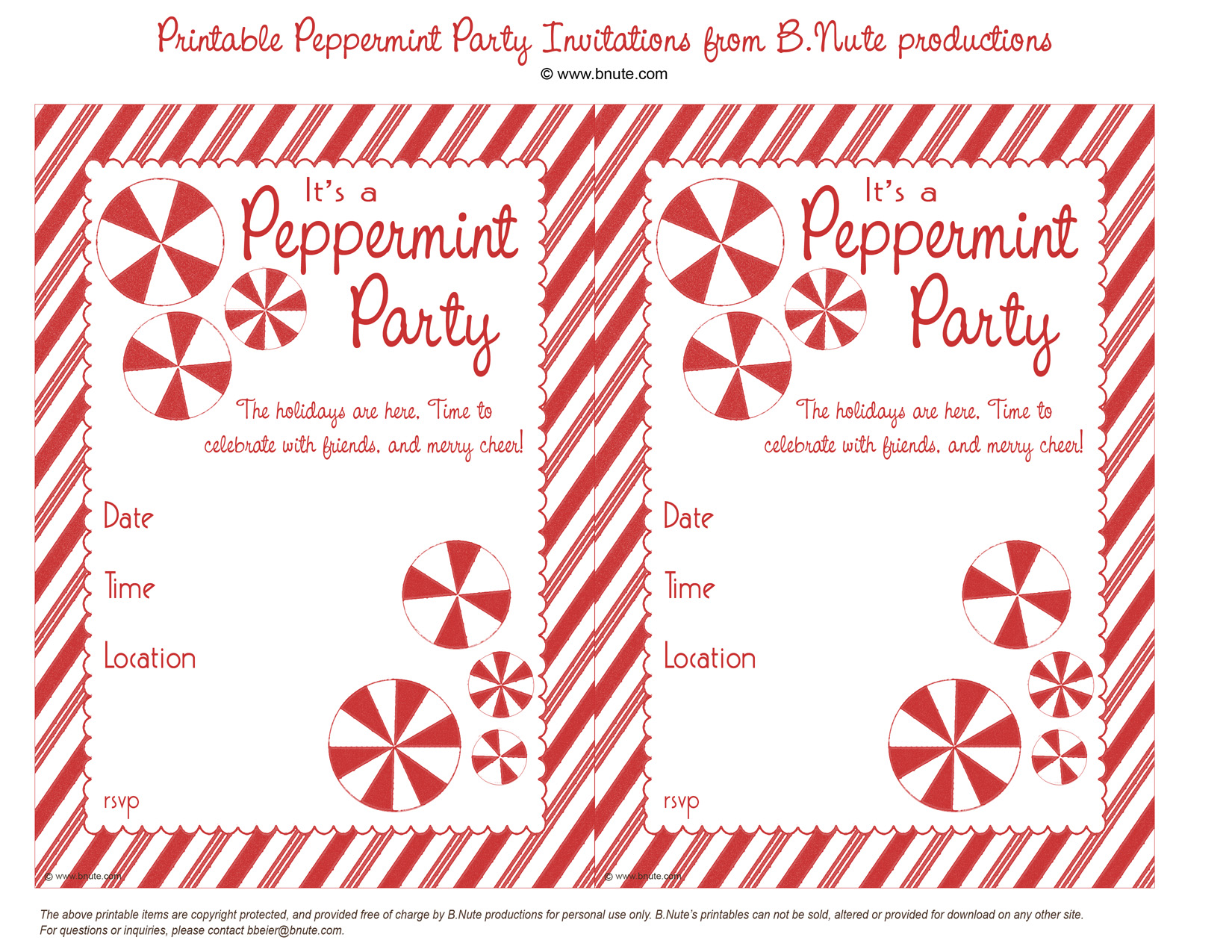 Holiday Party: Free Printable Peppermint Party Invitations and Ideas