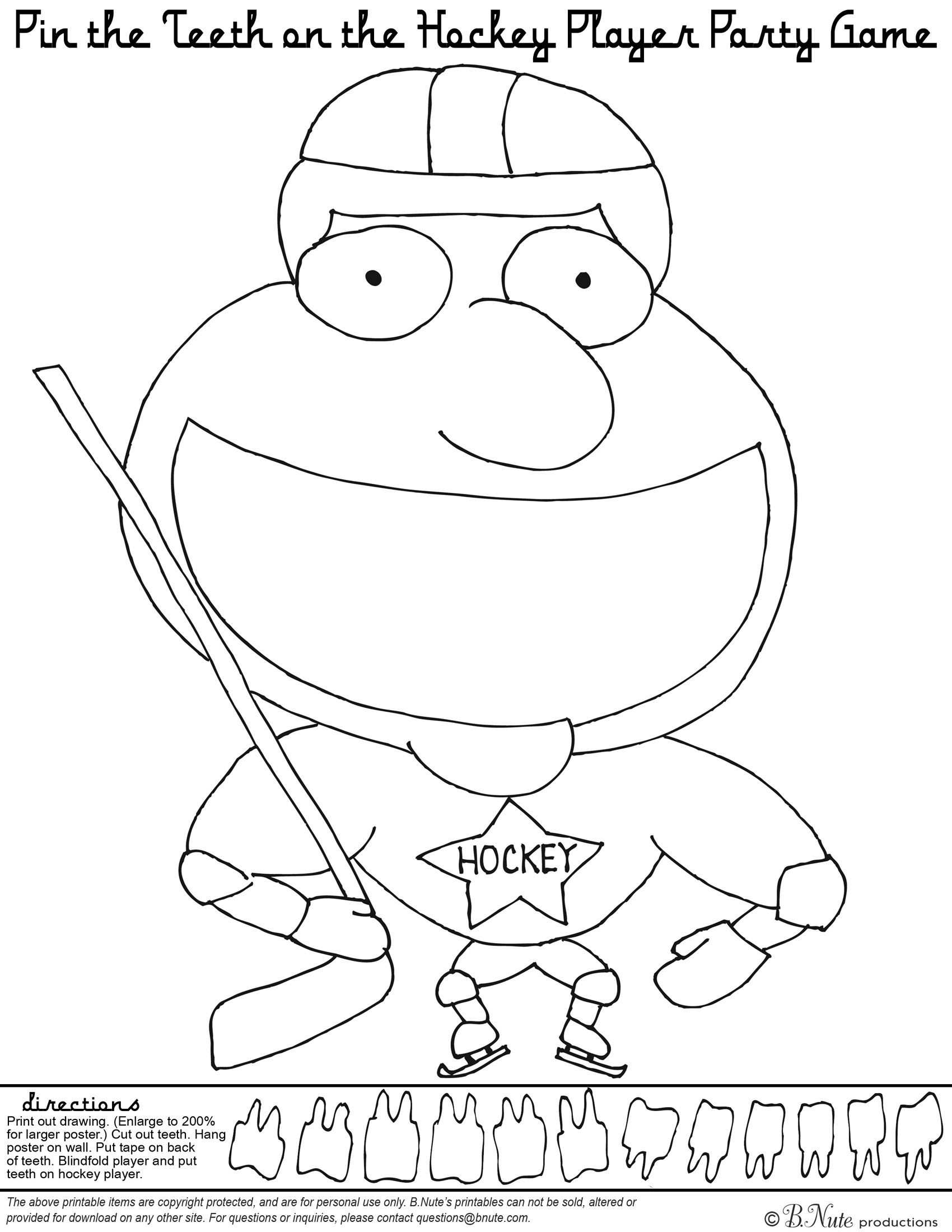bnute productions free printable hockey party game and coloring page