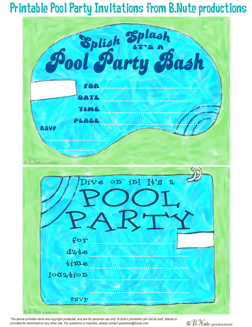 bnute productions: Free Printable Pool Party Invitations
