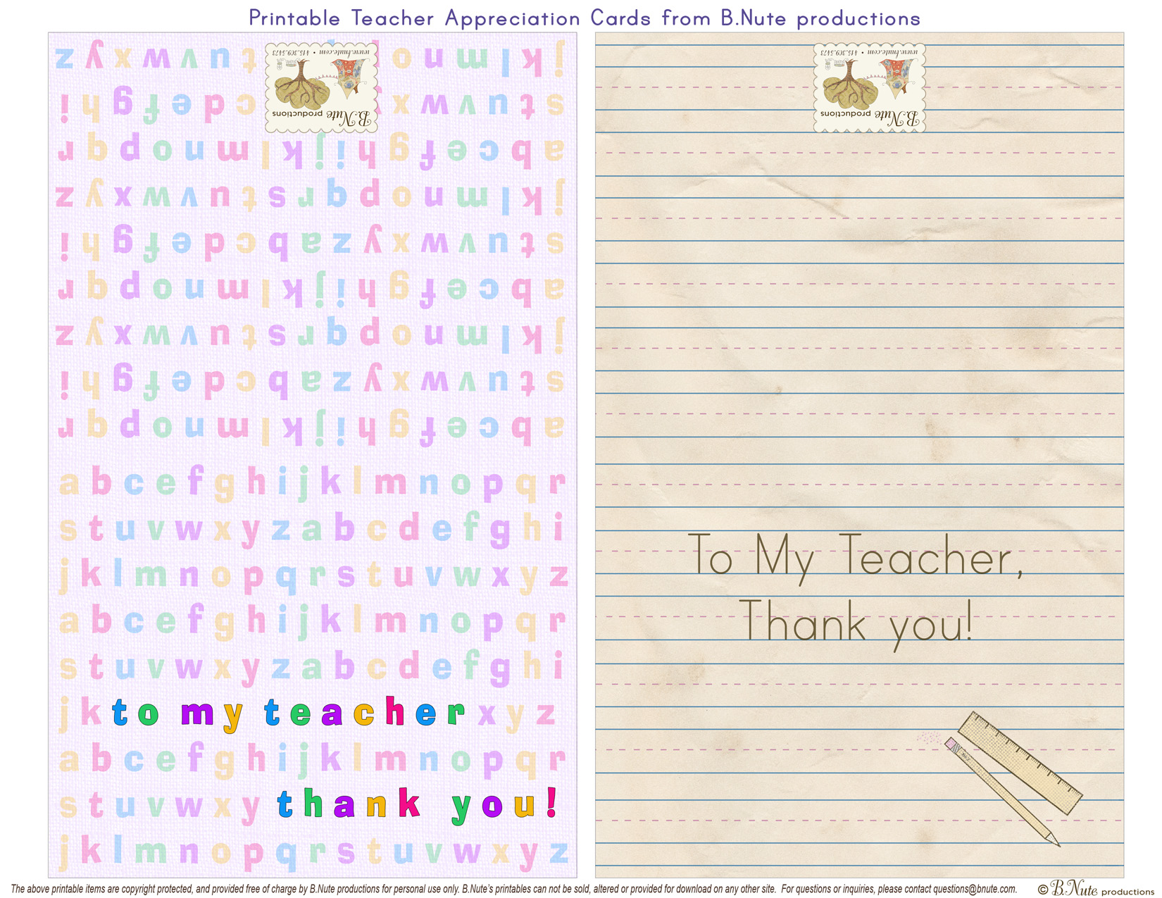 Free Printable Teacher Appreciation Folded Cards by B.Nute productions: bnute.blogspot.com/2011_04_01_archive.html