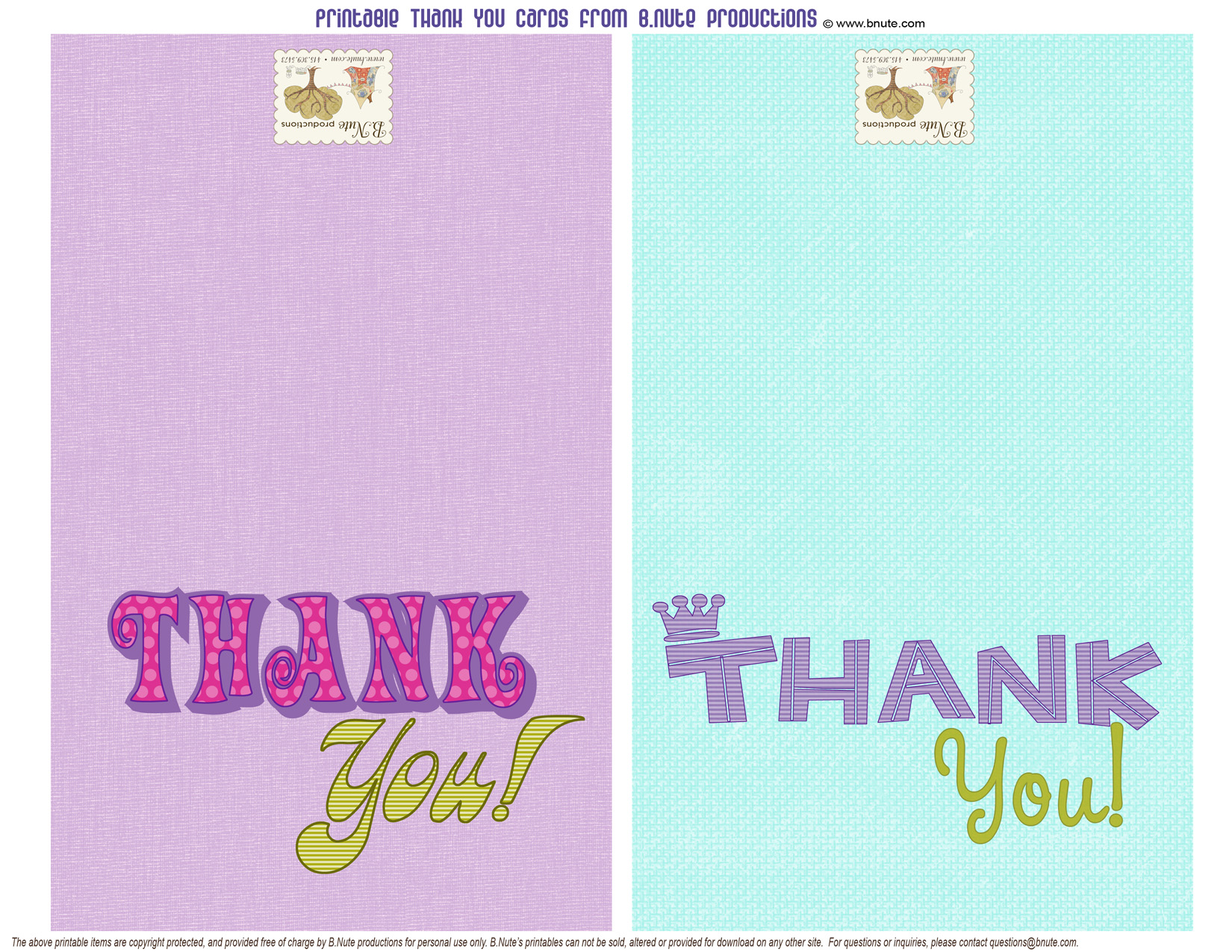 image regarding Free Printable Thank You Cards for Students called bnute productions: Free of charge Printable Thank On your own Playing cards for the Youngsters