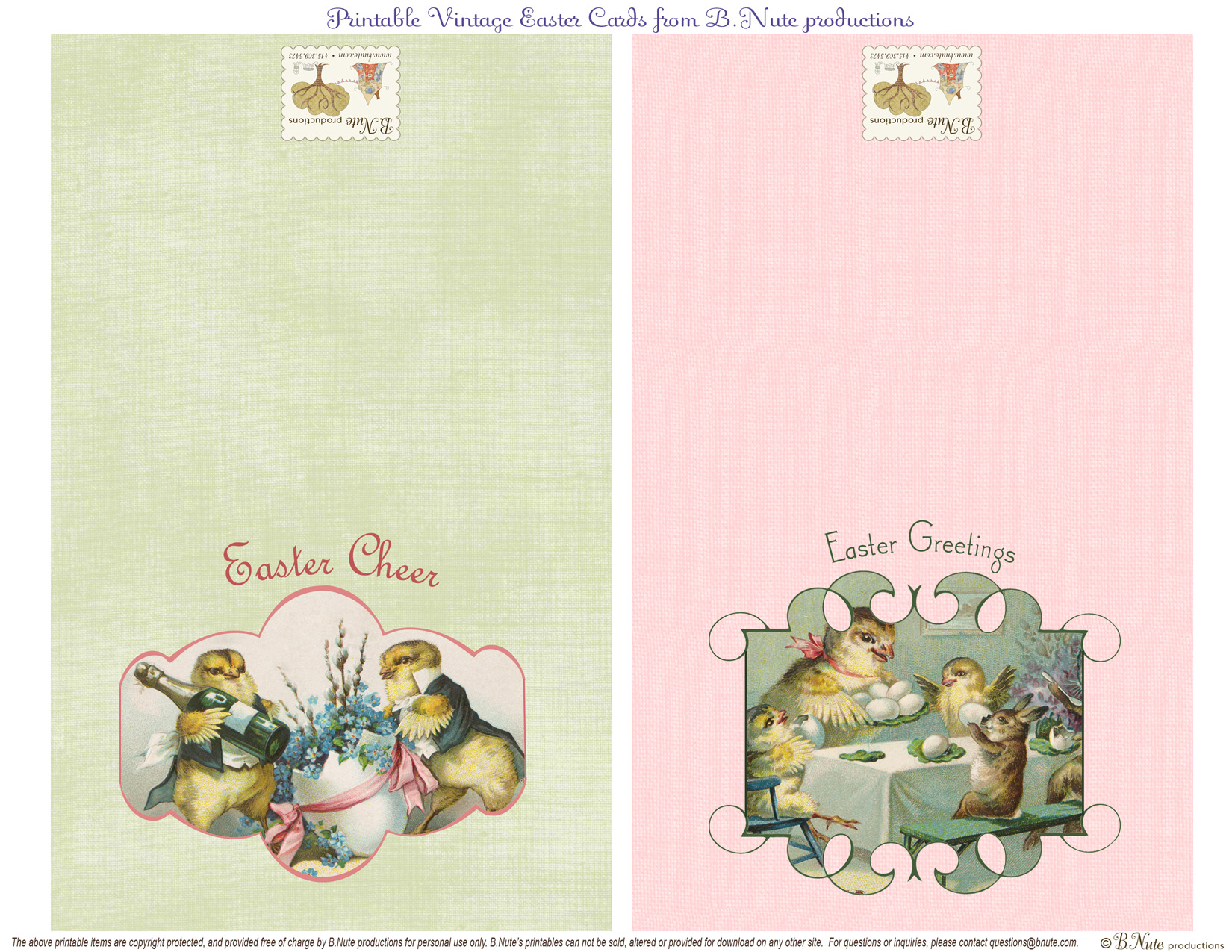 Bnute Productions Free Printable Vintage Easter Folded Cards