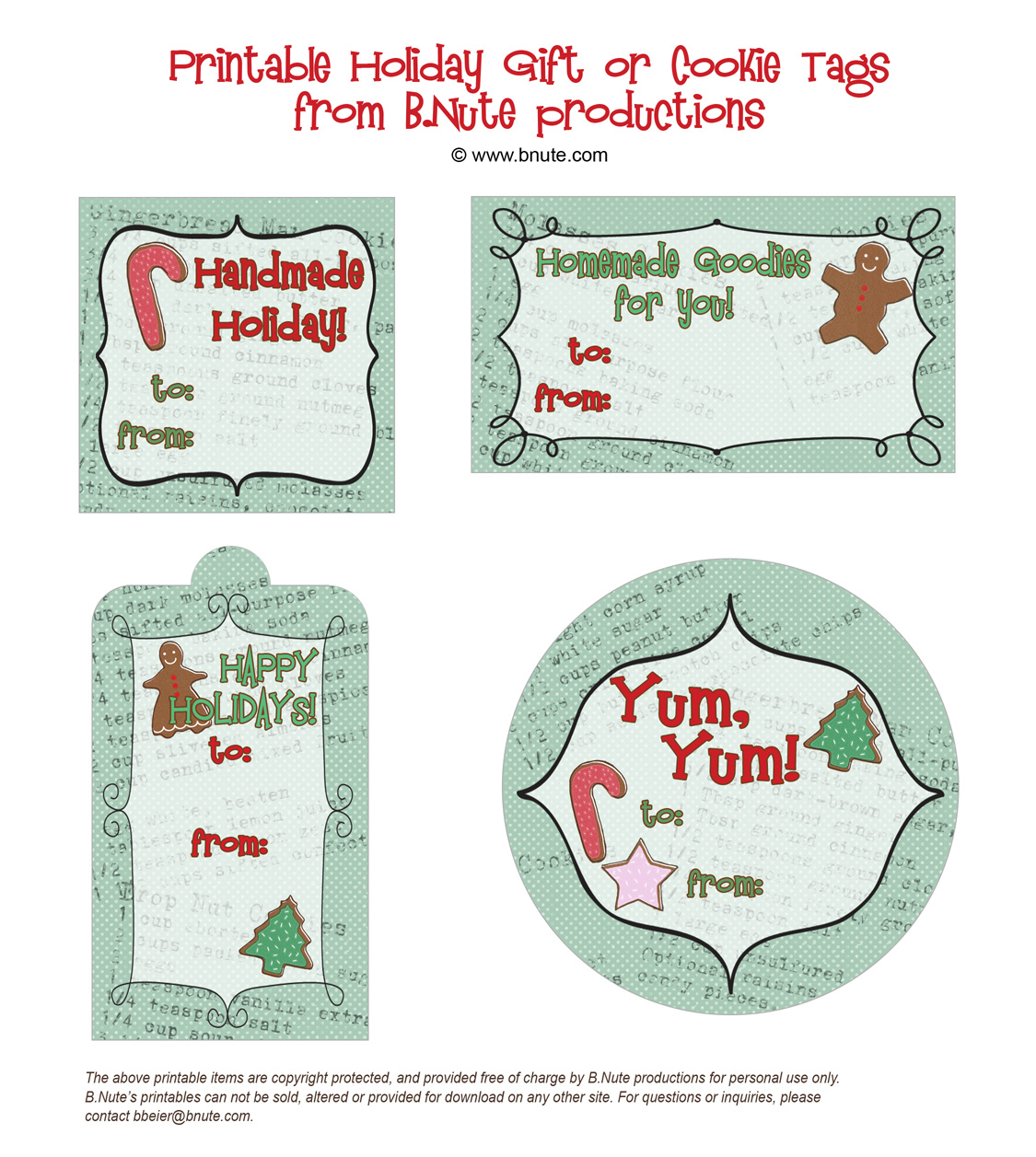 Bnute productions free printable holiday gift tags free printable holiday gift tags from bte productions negle Image collections
