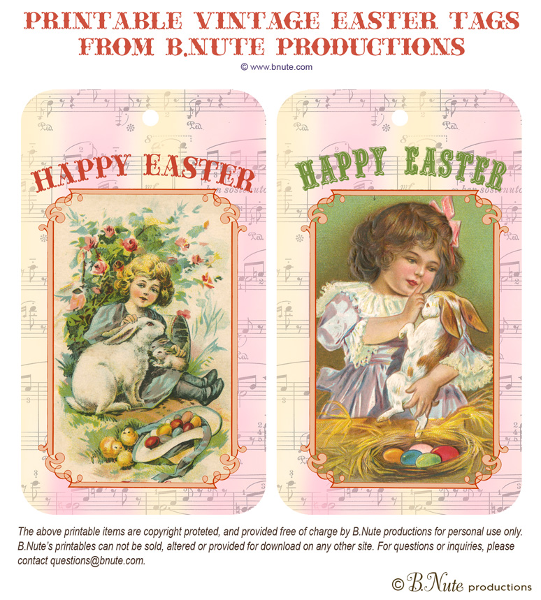 Free Printable Vintage Easter Tags by B.Nute productions