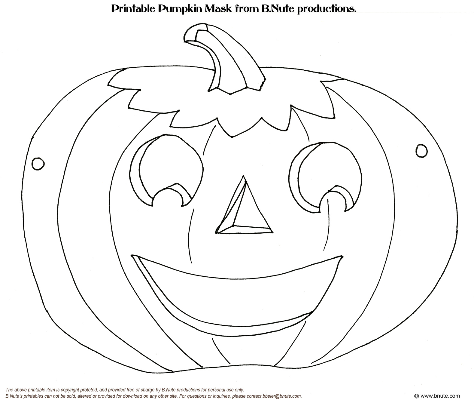 Bnute productions october 2010 for Children s mask templates
