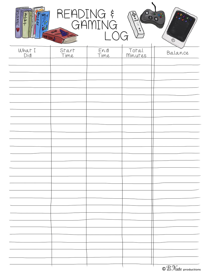 photo relating to Free Printable Reading Logs called bnute productions: Cost-free Printable Reading through /Online video Sport Log