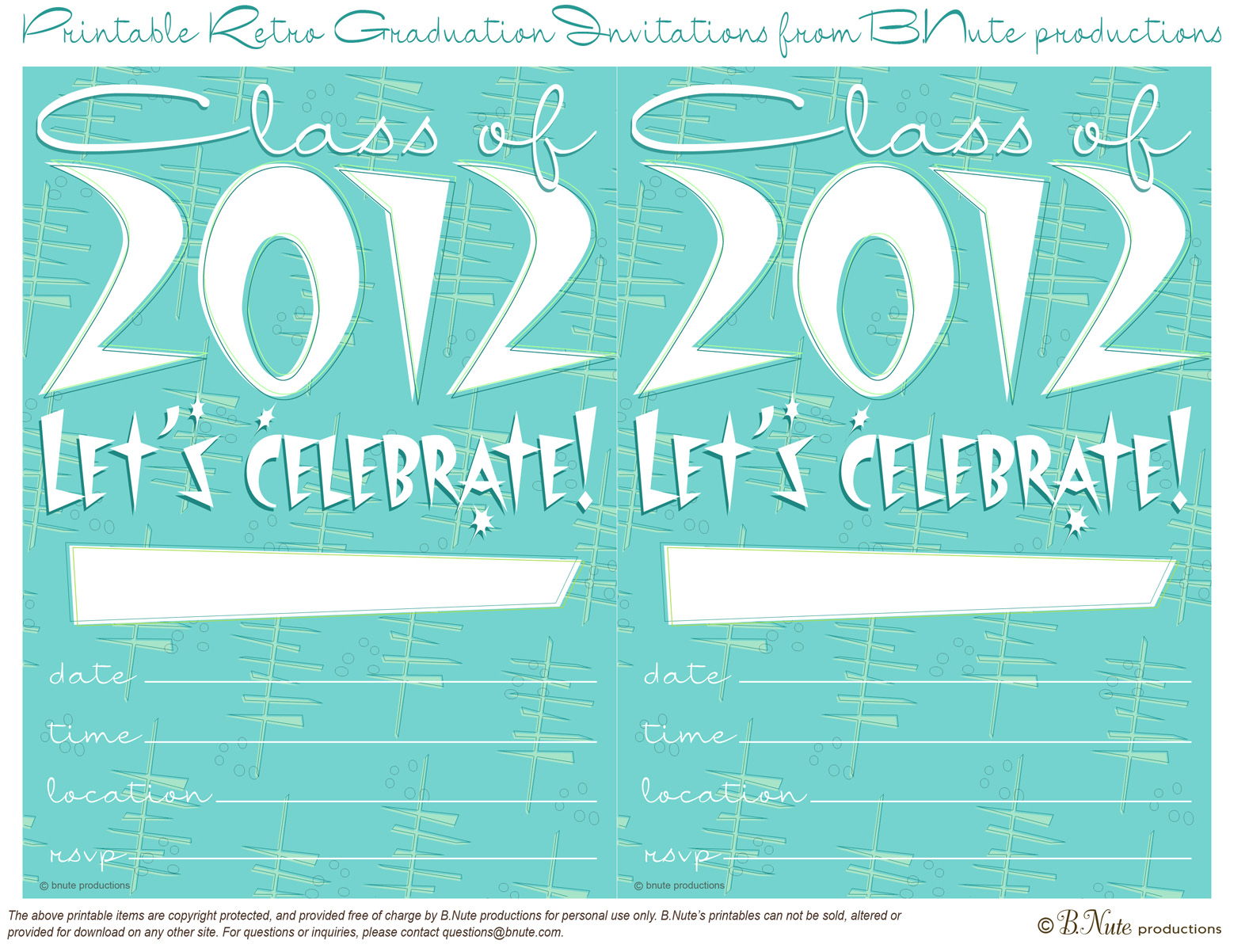bnute productions: Free Retro Graduation Party Invitations and ...
