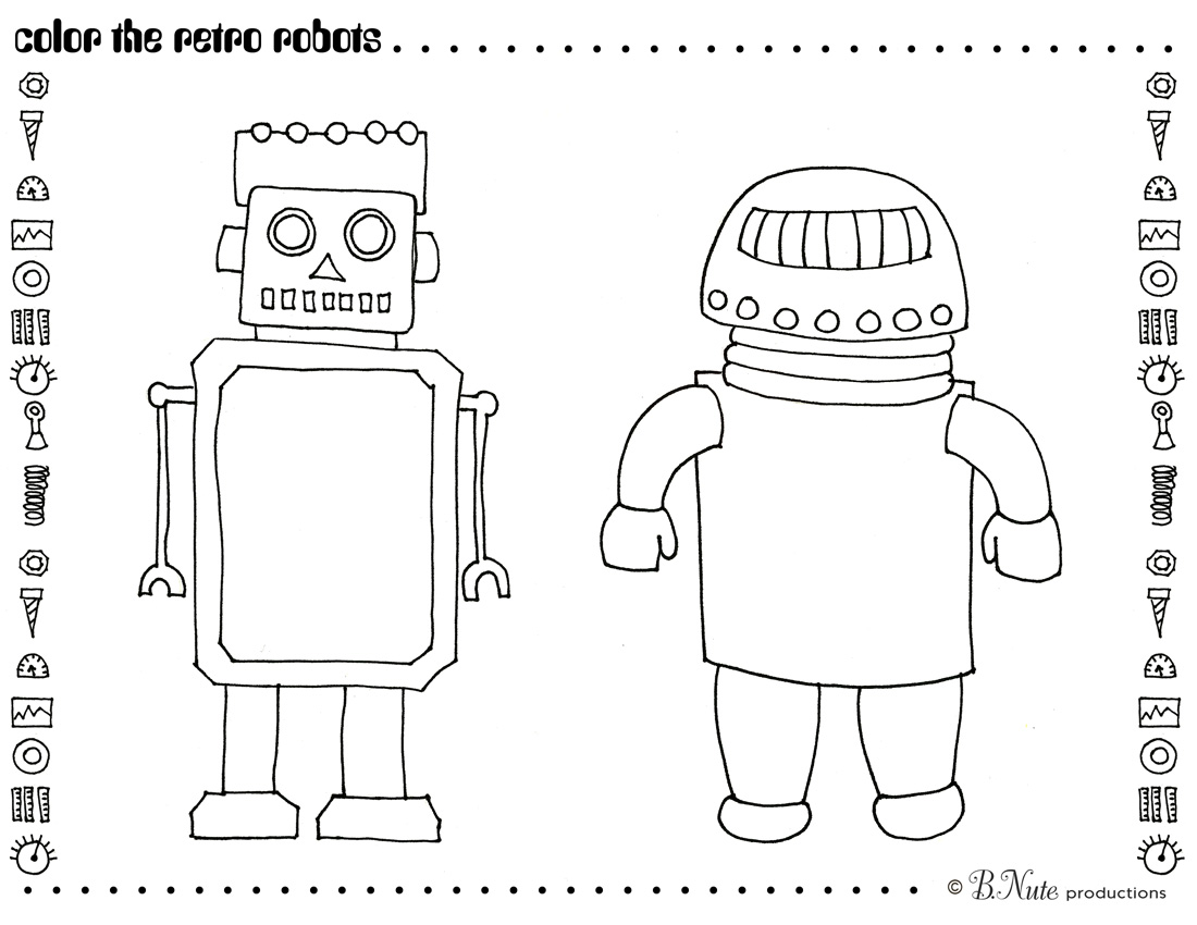 Free Printable Retro Robot Coloring Page By BNute Productions