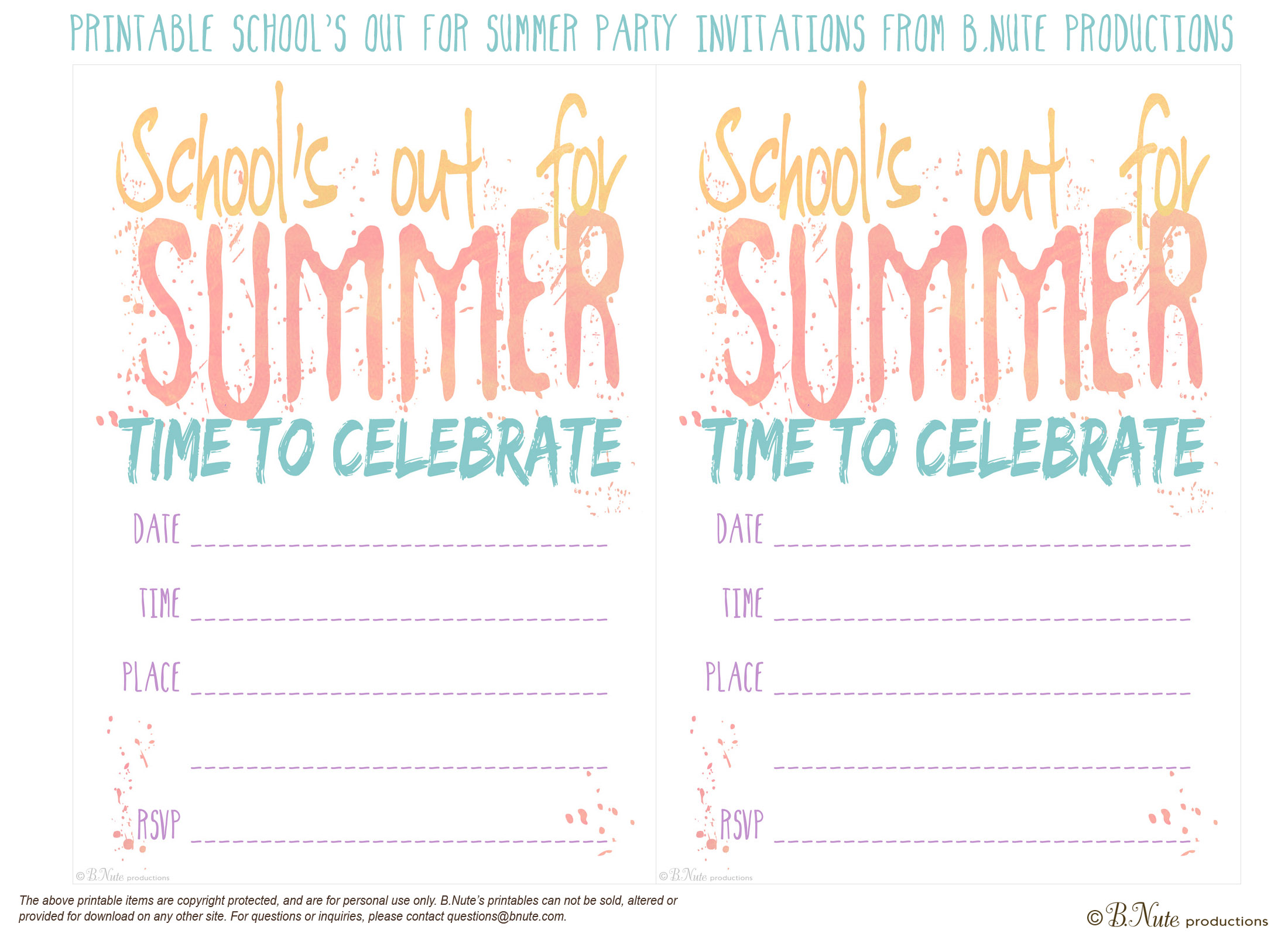 bnute productions: Free Printable School\'s Out for Summer Party ...
