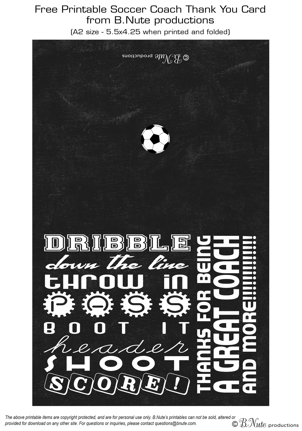 Bnute productions free printable soccer coach thank you card free printable soccer coach thank you card kristyandbryce Gallery