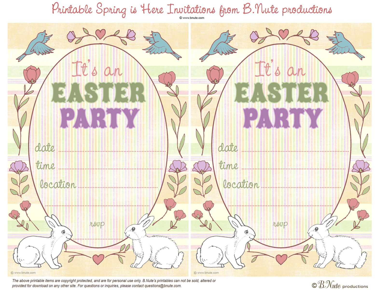 bnute productions free printable spring is here easter invitations, party invitations