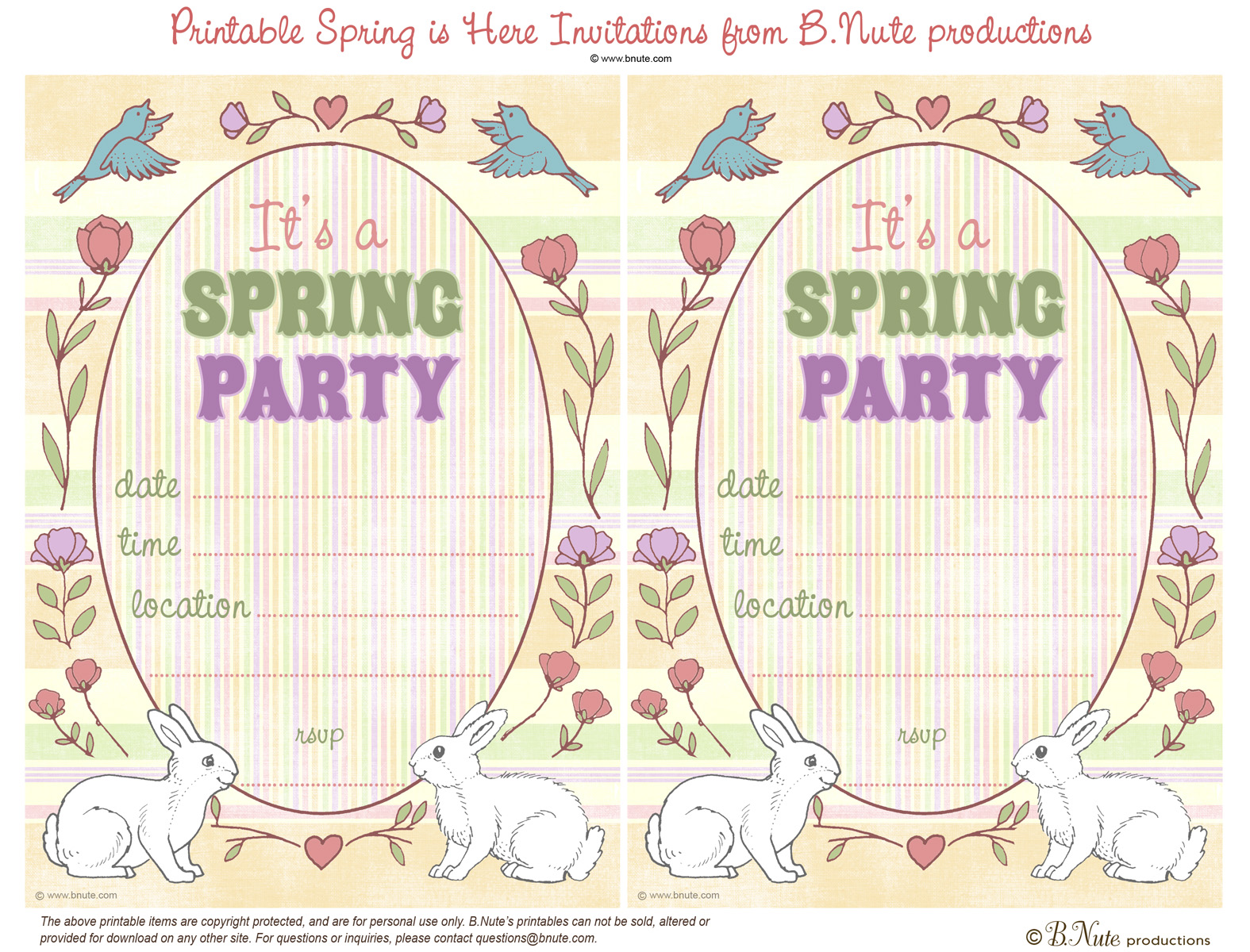 bnute productions Free Printable Spring is Here Easter Invitations – Easter Invitations Template