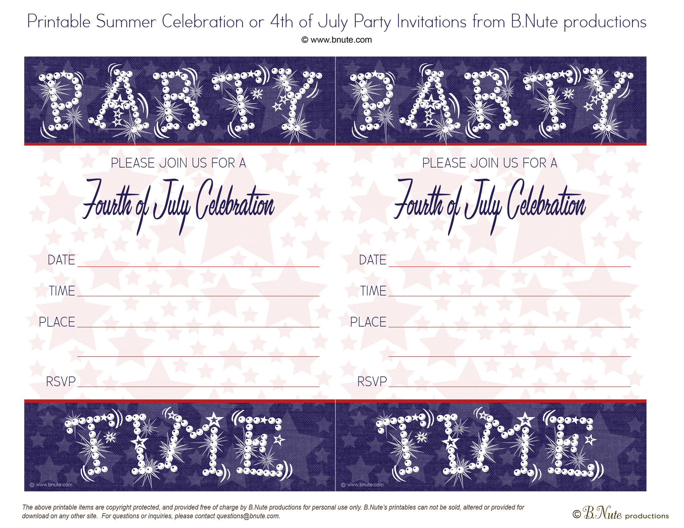Free Printable Fourth of July Starry Night Invitations by B.Nute productions