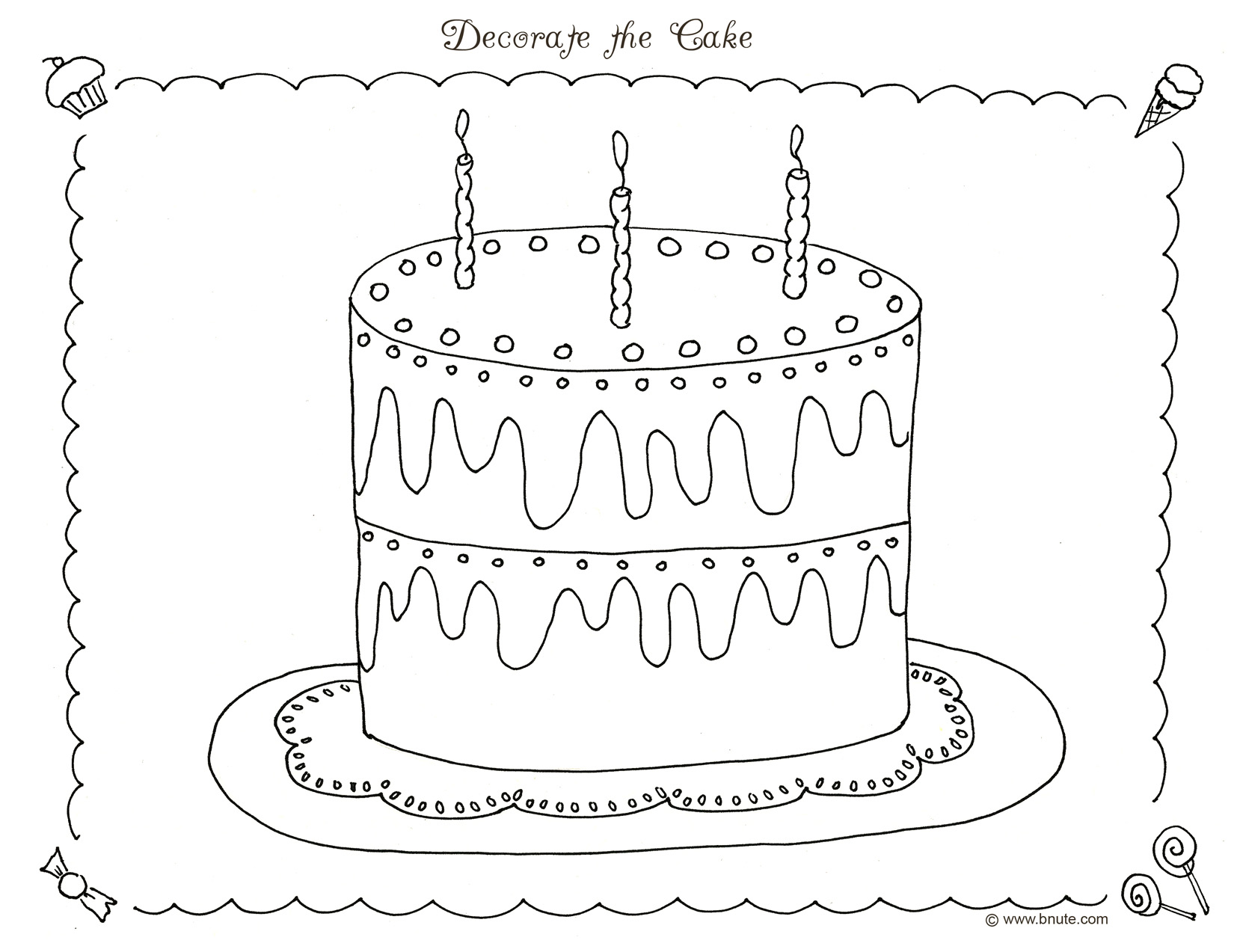 Plain Cake Coloring Pages Images amp Pictures Becuo