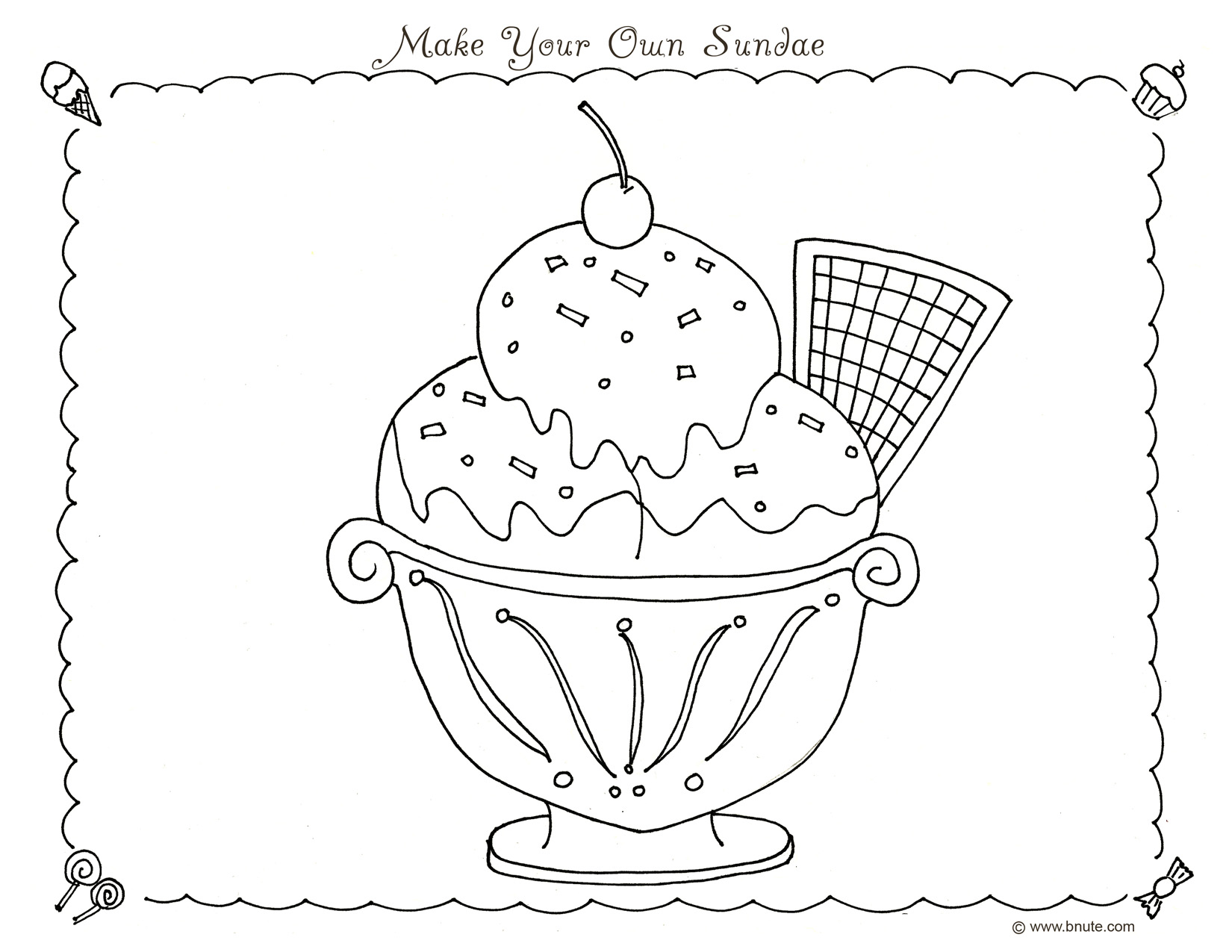 Adult Best Make Your Own Coloring Pages For Free Images beauty bnute productions sweet treats party ideas decorations games make your own sundae coloring page by b nute images