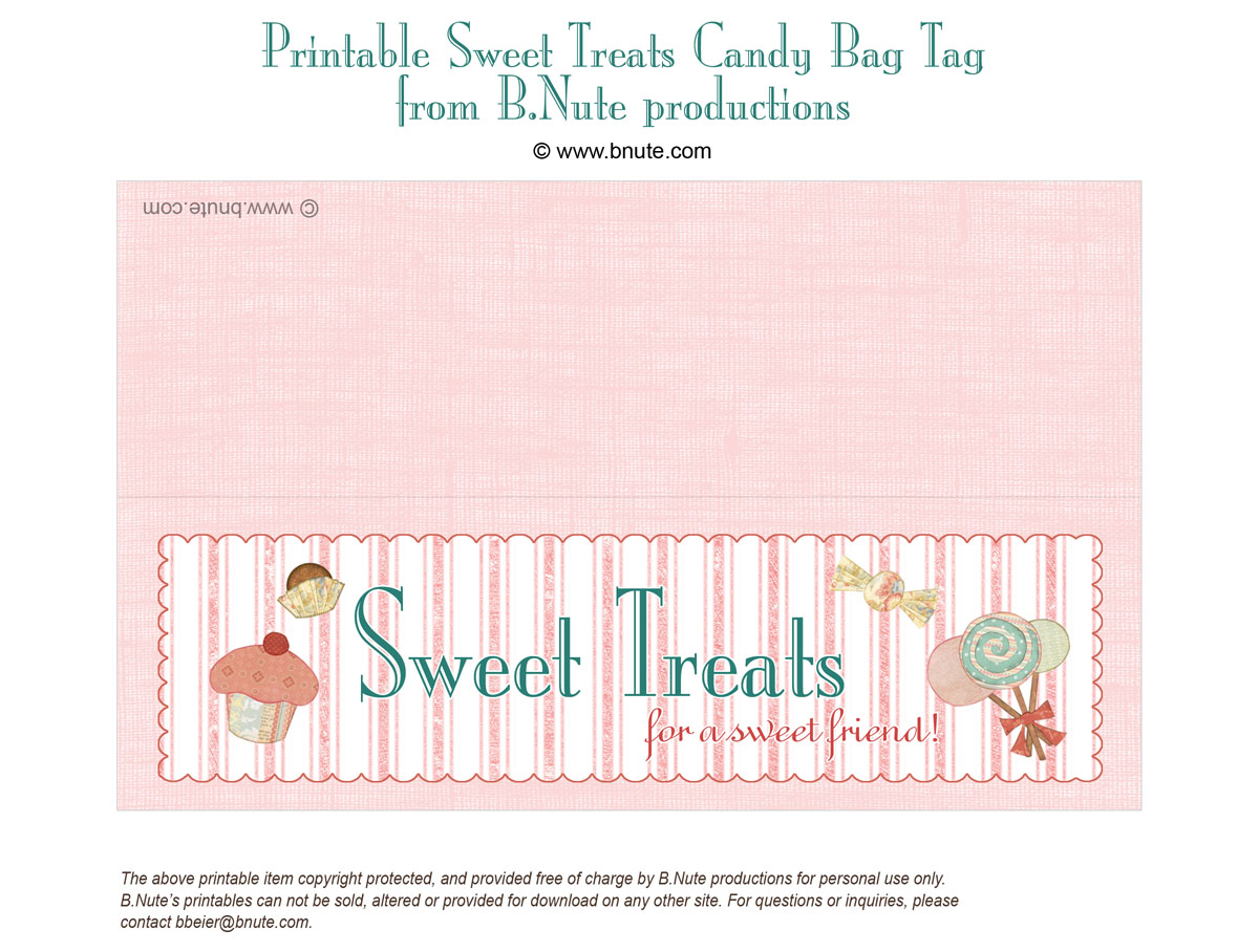 Bnute productions free printable sweet treats bag label free printable sweet treats bag tag from bte productions negle Images