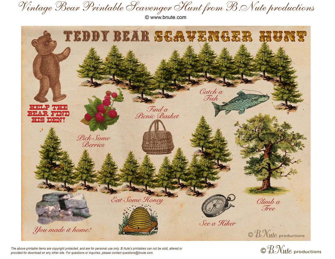 bnute productions free printable teddy bear scavenger hunt game
