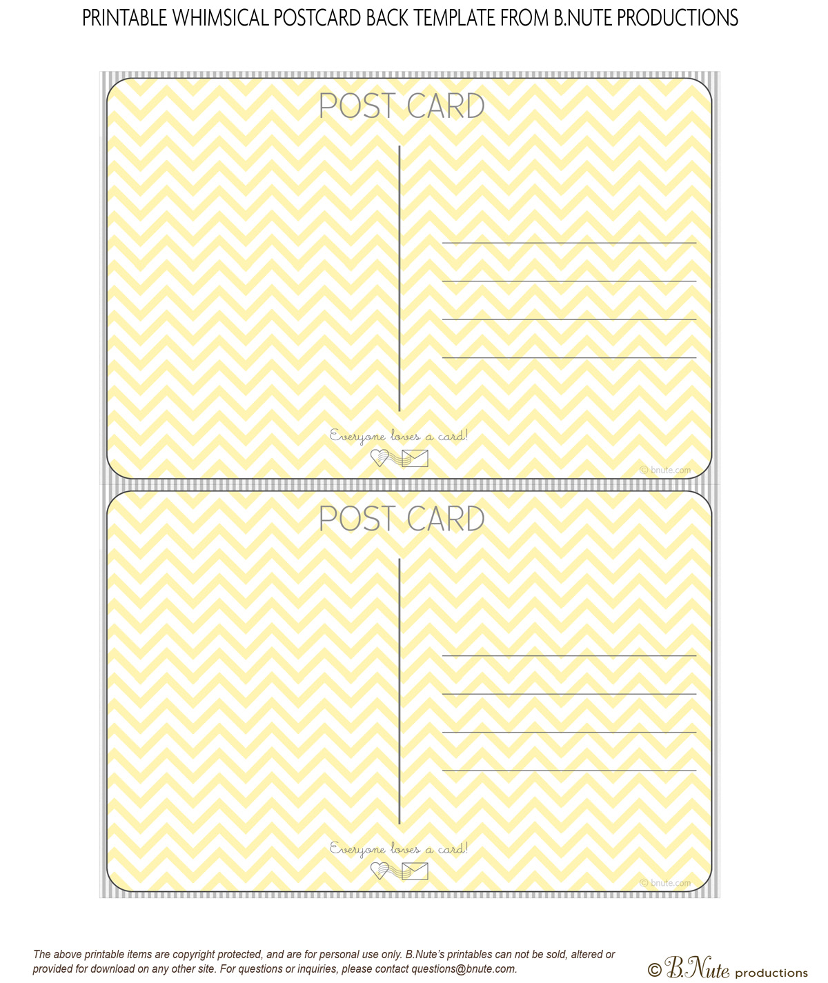 Bnute Productions Scrapbook Paper Ideas Perfect Postcards - Card template free: postcard mailing template