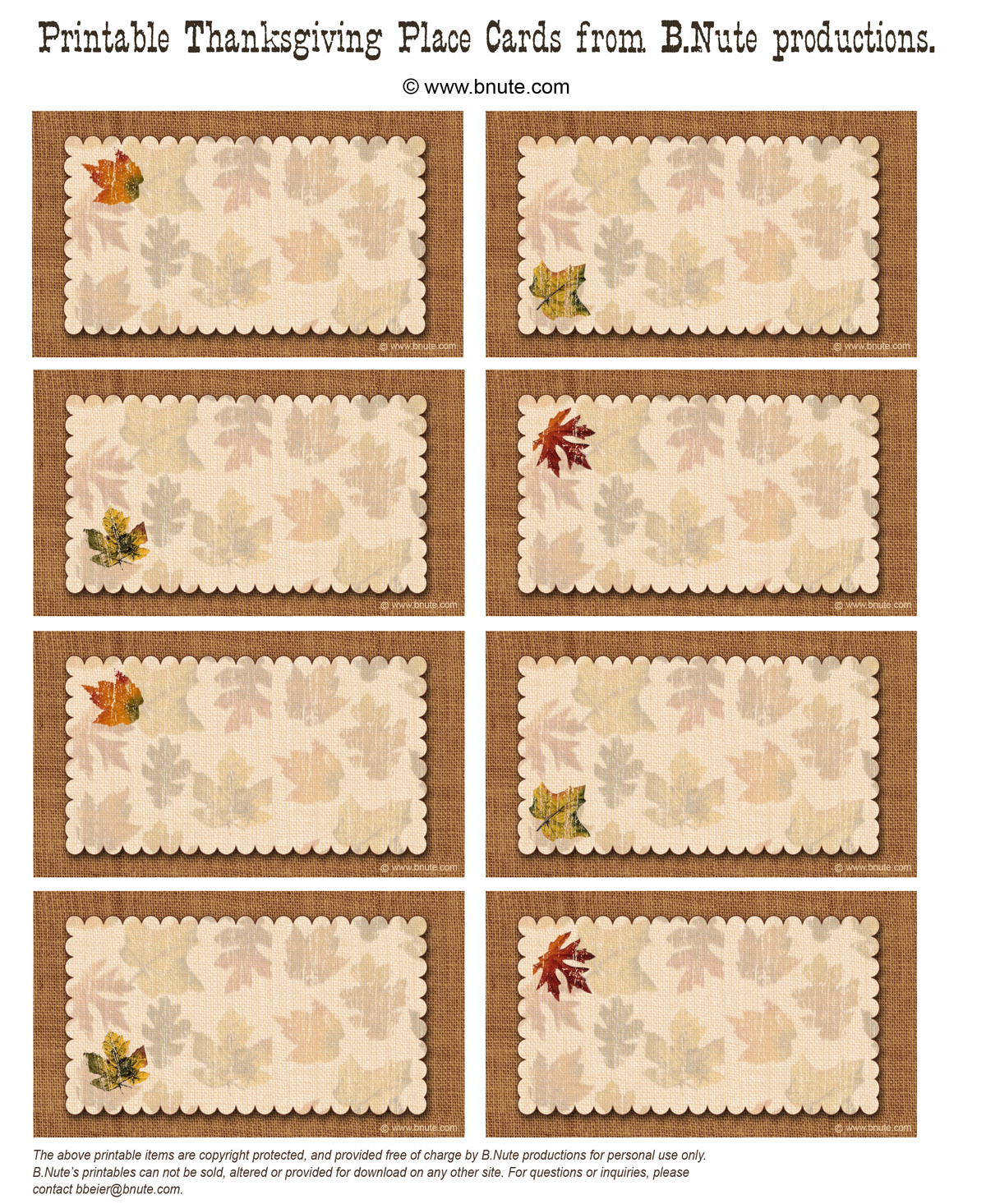 photograph about Thanksgiving Place Cards Printable called bnute productions: Totally free Printable Autumn Vacation spot Playing cards Great