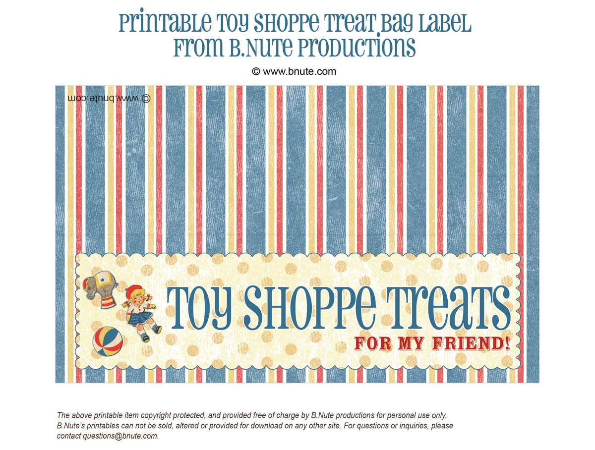 bnute productions: Free Printable Toy Treat Bag Label