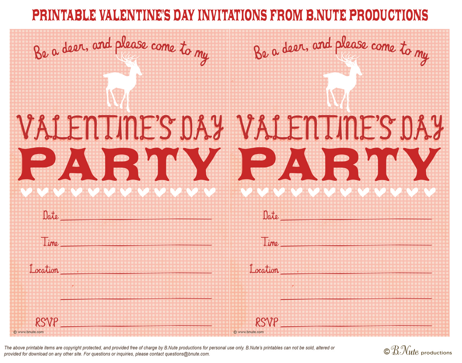 bnute productions Free Printable Valentines Day Party Invitation