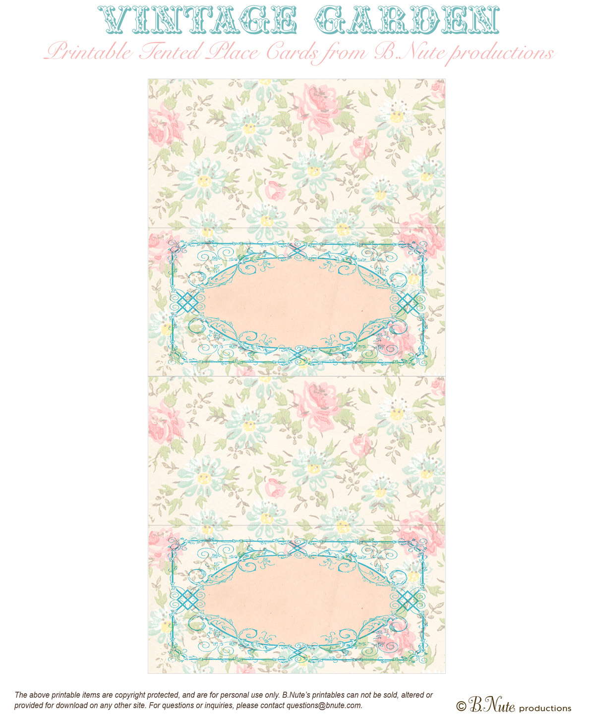 Tea Party Free Printables Bnute Productions Printable Vintage Garden Placecards