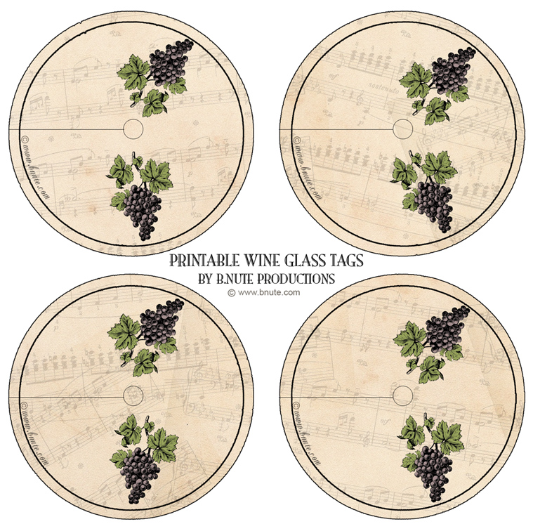 Dynamic image with printable wine glass tags